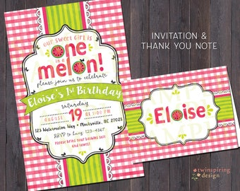 One in a Melon Watermelon Birthday Invitations and/or Thank You Notes with Envelopes | Picnic Party Invitation