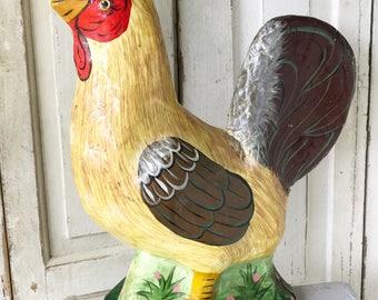 A vintage farm shop prop papier-mâché rooster chicken