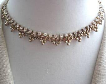 Vintage Choker, Rhinestone Choker, , Rhinestone Necklace, Rhinestones on Gold, Vintage Necklace, Gift Ideas, Accessories,