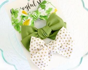 Handtied Bows, Baby Bows, St Patricks Bows, St Patricks Day Baby Headbands, Baby Headband Set, Large Poppy Bow
