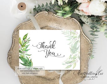 Botanical Wedding Thank You Cards, Printable Floral Thank You Card, Greenery Baby Shower Thank You Sign, Wedding Favor Thank you Note Card