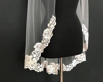 Alencon Lace Veil, fingertip veil, floral lace veil, bridal lace veil, lace veil, bridal accessories