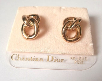 Christian Dior  Gold Plated Earrings with 14kt Gold Posts