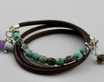 Natural Turquoise Bracelet, Mine 8 Turquoise, Sterling Silver Leather Multi-Wrap Bracelet, Boho Bracelet, Artisan Bracelet,Stacking Bracelet