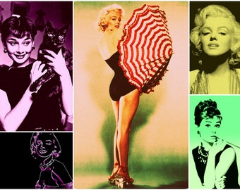 Set of 12 Audrey and Marilyn prints