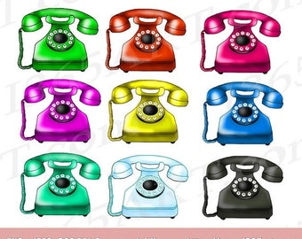 50% OFF Retro Telephone Clipart, Telephone Clip Art, Phone Clipart, Phone Clip Art, Scrapbooking, Digital Graphic, Clipart Design, Hand Draw