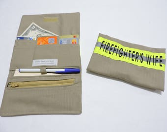 Women's Tri Fold Firefighter Wallet,Firefighter Wife,Firefighter,Tan turnout gear look,Firefighter gift,FDW102,