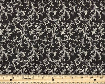 Royalty Tonal Swirls Black Cotton Quilting Fabric By the Yard #409