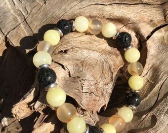 Agate & Malaysian Jade Aromatherapy Bracelet