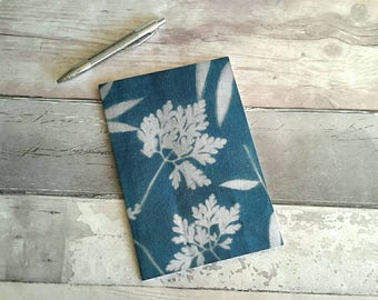 Leaf design A6 notebook, lined, plants, cyanotype, natural, botanical,  gardening, notepad, navy, textile print