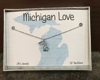 Michigan Charm Necklace - Birthstone Necklace- Pick your Birthstone - Love Michigan - Michigan Jewelry -  Michigan Pendant