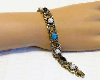 Colorful Gold Tone Filigree Bracelet - New Unused - Beautiful Faux Stones - Mint Condition - New Old Stock -  FREE SHIPPING.