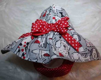 Female Dog Diapers / dog pantie / britches / Waterproof /Grey and red dog print