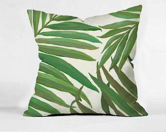 Tropical Monogram pillow, palm leaf pillow,Rustic Decor,Home Decor,Housewarming gift