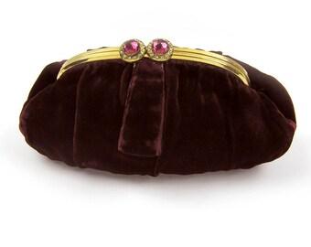 Vintage 1930s Velvet Evening Bag Clutch Purse with Rhinestone Clasp