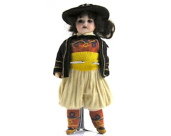 Vintage SFBJ Paris 301 Boy Doll in Traditional Dress of Brittany French Bisque Head Doll SFBJ 301 5/0