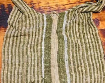 Raw silk shoulder bag