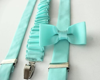 Suspender with bow tie made  in mint pastell
