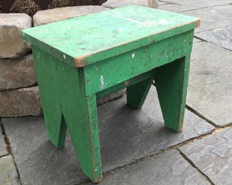 Vintage Wooden Rustic Bench/Stool in Old Chippy Frosted Green Paint