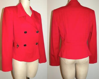 80s 90s Wool Structured Jacket Blazer AVANT GARDE Red Military Entre Deux Modes / Vintage size  10