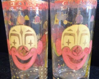 Cute Pair of Vintage Circus 12 oz Highball Glasses