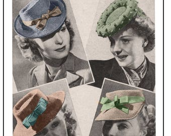 1940's Hats Knitting Pattern - Instant Download