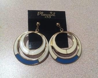 Vintage 70's Playgirl Enameled Hoops, Big Enameled Double Hoop Post Earrings, White & Turquoise Brass Large Concentric Hoop Post Earrings