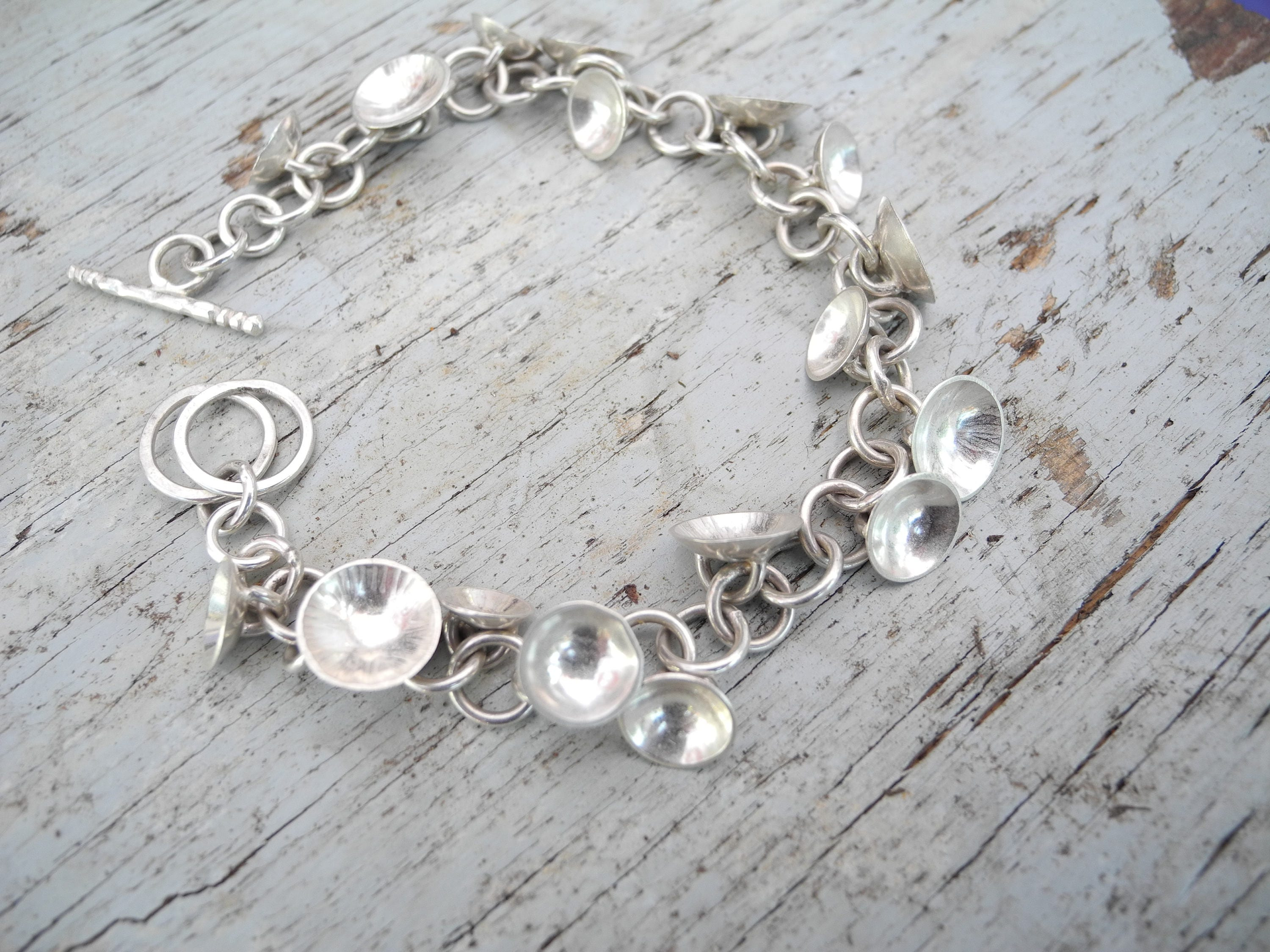 fancy in bracelet silver link handmade sterling