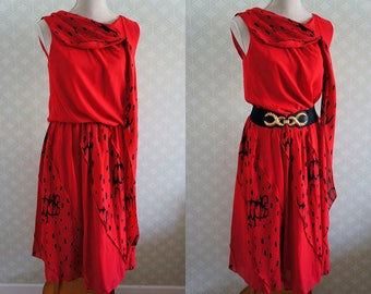 80s Red Vintage dress. Madonna style. M size vintage dress.