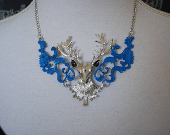 Deer head tribal necklace -  Blue and silvertone pendant necklace