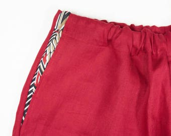 linen pants with elastic waist and wide leg