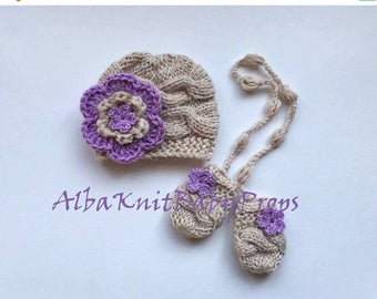 SALE 15% DISCOUNT Baby Girl Hat and Mittens , Knit SET Hat and Mittens , Baby Girl Outfit , Knit Baby Hat and Mittens