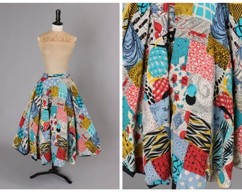 Vintage original 1940s 40s 1950s 50s 1947 novelty patchwork print circle skirt UK 6 8 us 2 4 XS S