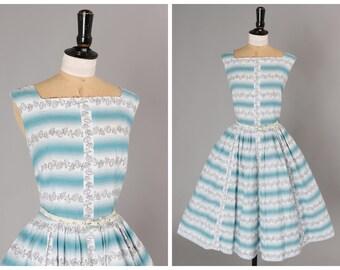 Vintage original 1950s 50s novelty umbrella print stripe dress w full skirt by Jobi UK 8 10 US 4 6 S