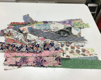 Huge Lot Feedsack and Vintage  Quilt Strips and Rectangles
