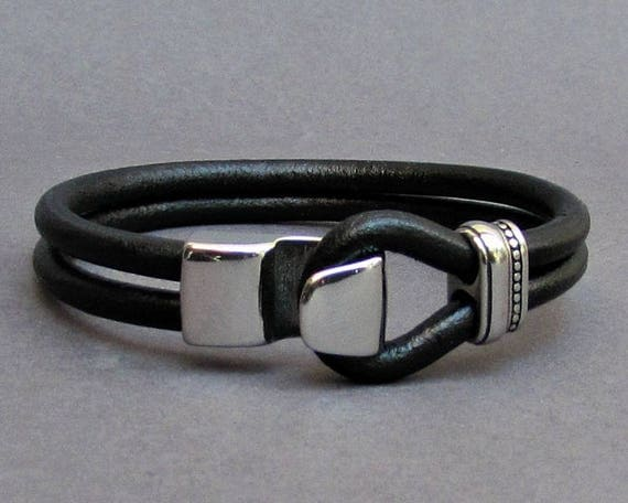 Hook Mens Stainless Steel Leather Bracelet, Leather Bracelet For Men, For Husband,  For Boyfriend, For Him, Boyfriend Gift, Mens Gift