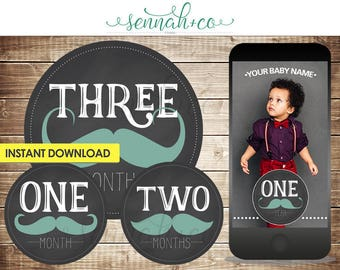 Milestone Stickers or Snapchat Geofilter - Downloadable - Blue Mustache - Chalkboard - Hipster - 1 to 12 Months - Baby Boy Month Sticker