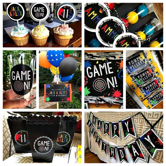 paintball party decorations paintball birthday decor paintball party package paintball. Black Bedroom Furniture Sets. Home Design Ideas
