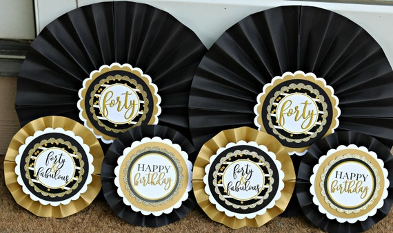 LADIES 40TH BIRTHDAY Decorations Decorative Rosettes Paper Fans