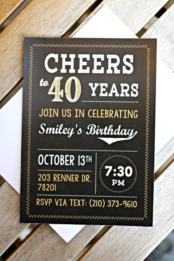 PRINTED 40TH INVITATIONS, 40th Birthday Party, 40th Party Supplies ...