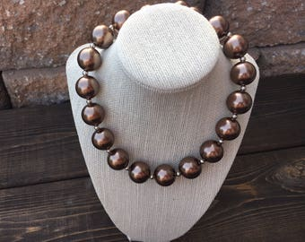 Brown Adult Chunky Necklace, Faux Pearl Fall Bubblegum Necklace, Womens Everyday Necklace,  Ladies Statement Necklace, Thanksgiving, Hallowe