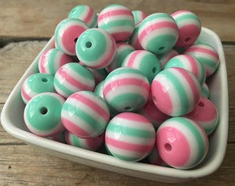 20mm Pink Mint and White Stripe Chunky Bead, Spring Bubblegum Bead, Easter Acrylic Bead, DIY Chunky Necklace, 10 Count