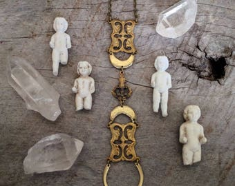 Art Nouveau Necklace - One of a Kind - Handmade Jewelry - Bronze - Brass - Unique - Antique - Avant Garde - Statement - Crescent Moon