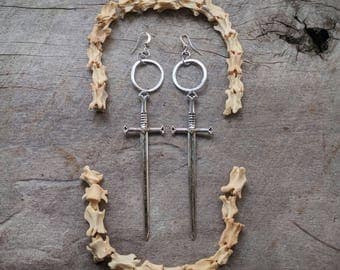 Sword Earrings - Silver - Goth - Jewelry - Witchy - Oddities - Tarot - Gothic - Gift - Spooky - Dramatic - Long - Jewelry - Occult