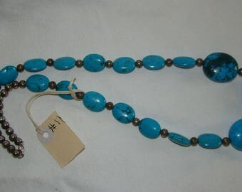 T-11 Native American Necklace, Silver ??, Turquoise stones