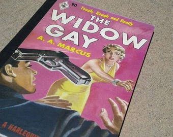 1940's Inspired Pulp Fiction, The Widow Gay, Vixen, Harlequin Book, Pinup Blank Notebook, School tablet, Note Pad, Journal, Diary, Noir