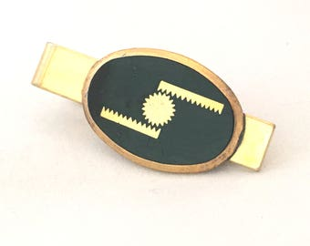 Gears Tie Bar, Rack and Pinion Logo Tie Clip, Engineering Tie Clasp, Steampunk Tie Tack, Gear Flat Bars Tie Clip, Gold Tone Tie Bar