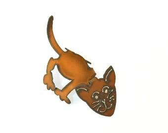 Cat Origami Folded Rusted Metal Figurine