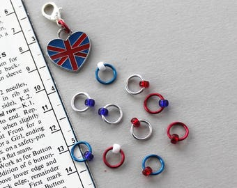 WE LOVE THE U.K. Stitch Markers, fabric & notions, knitting markers, knitting gift, knitting supplies, knitting accessories