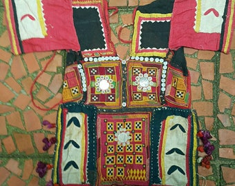 Vintage embroidered textile yoke from the Banjara of india (H287)